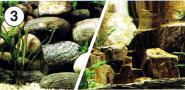 Aquarienrückwand Felsen-Flußbett 60x30cm Fotorückwand