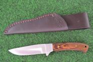 Linder Jagdmesser Anglermesser mit Ebenholzgriffschalen und starker Lederscheide